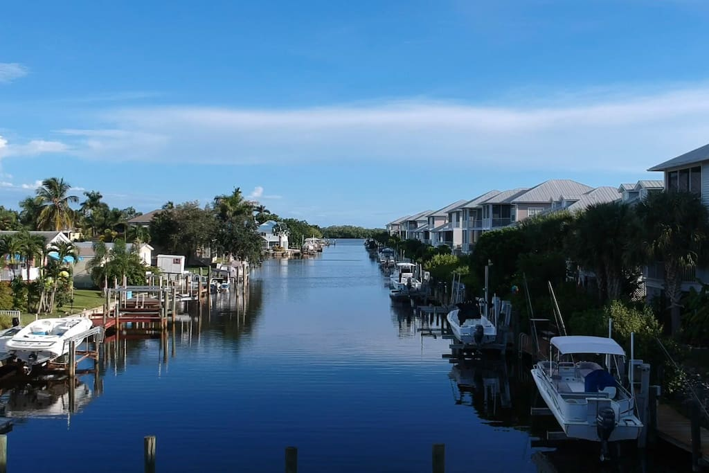 Aerial view looking down our canal Towards the Gulf and 10,000 Islands.
