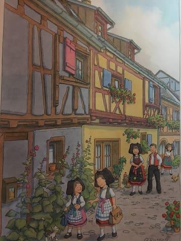 Maison alsacienne dans les remparts d'Eguisheim