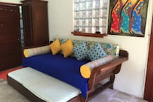 Large single bed size day bed/lounge with trundle under (sleeps 2) downstairs