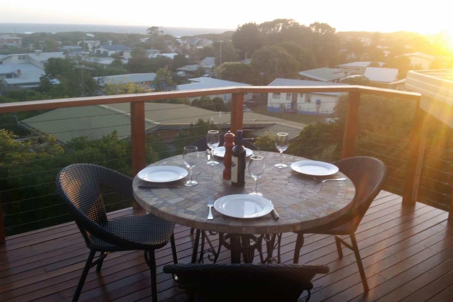 Our outdoor decking area is great for relaxing with amazing views across Cape Paterson from Cape Liptrap to the local surf beach.