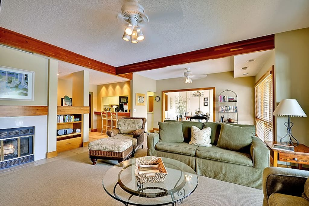 Great room, card room, dining room and kitchen with open design & 9 ft. ceilings