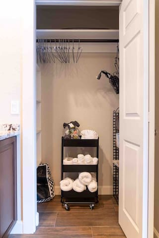 Closet with Amenities/Toiletry/Linen Cart, Beach Bag (Towels and Blanket), Hangers, Hairdryer, Extra Throw Blanket, Book Rack, Iron and Ironing Board