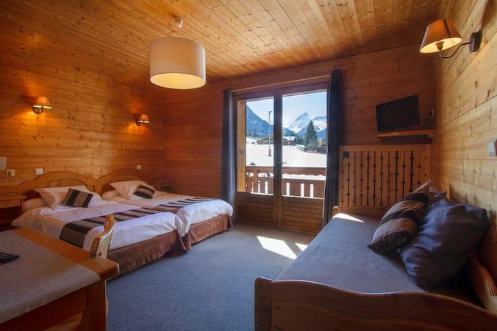 chambre twin confort familiale balcon vue piste