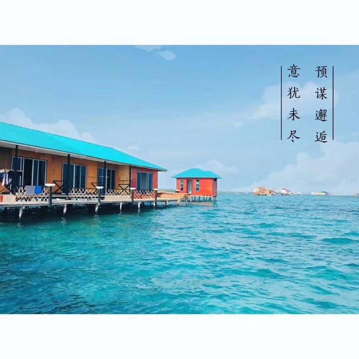 A海蓝之谜仙本那水屋,独立卫生间,免费浮潜(中文房东)3人以下房型