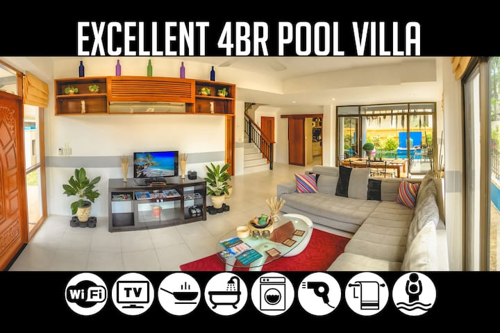 4BR Pool Villa near Bang-Tao Beach, sleeps 9+