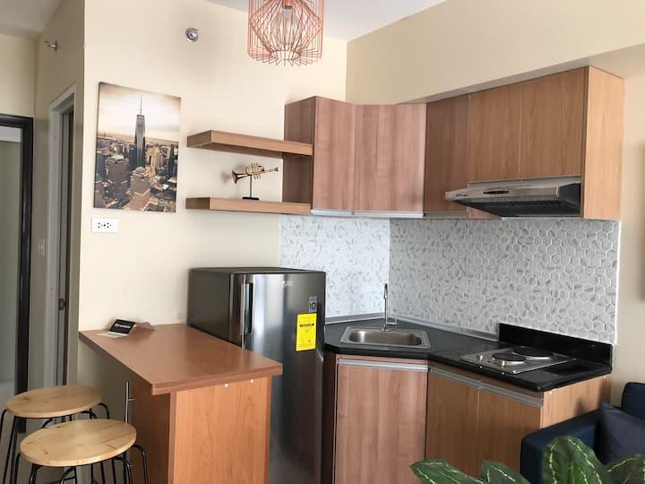 Avida Riala Condo- Kitchen, Living, and Bedroom