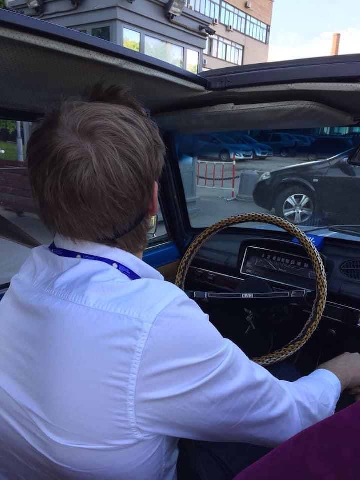 driving Kopejka through the city