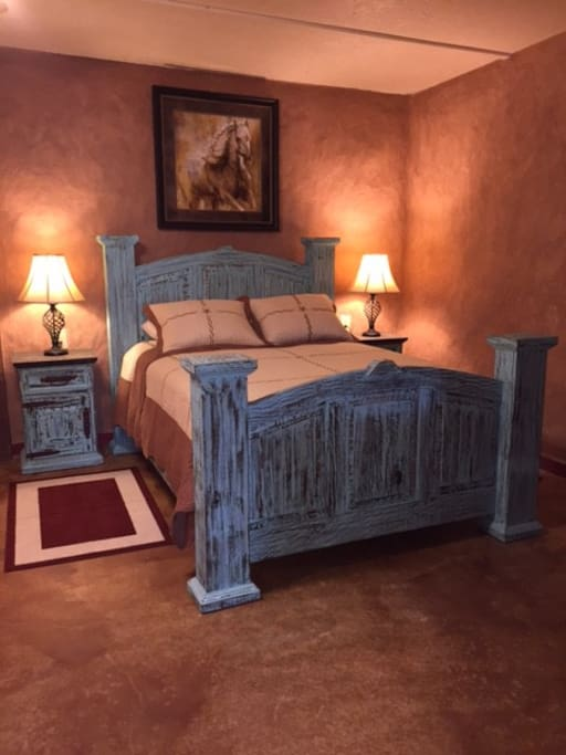 Strawbale House queen bed