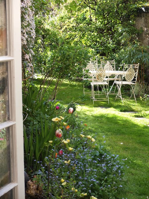 Walled garden at back of house.   Quiet and sunny (when there is sun…)