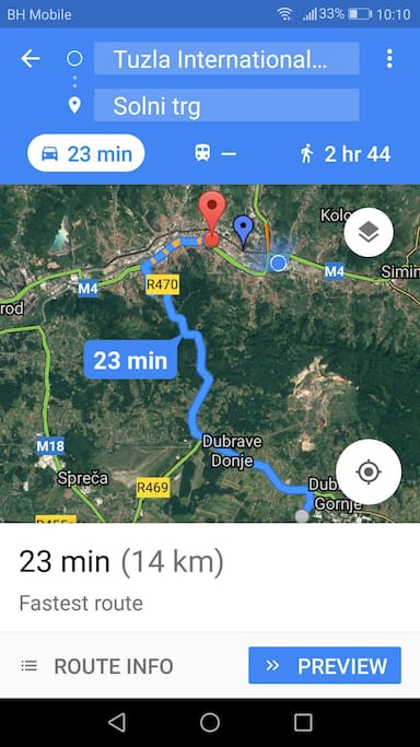 The distance from Tuzla International Airport