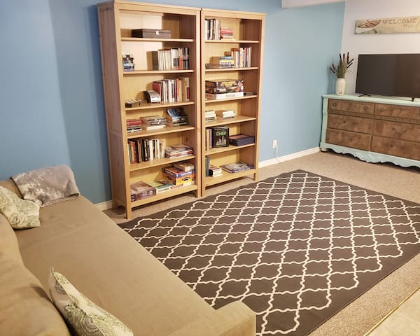 "A pull out couch, 43"" 4k SmartTV, and a bookcase full of games and novels"