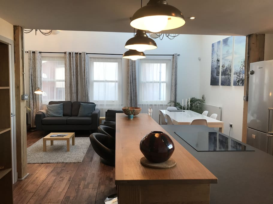 Large open plan living room, kitchen and dining area