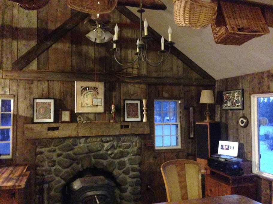 main living area and wood stove