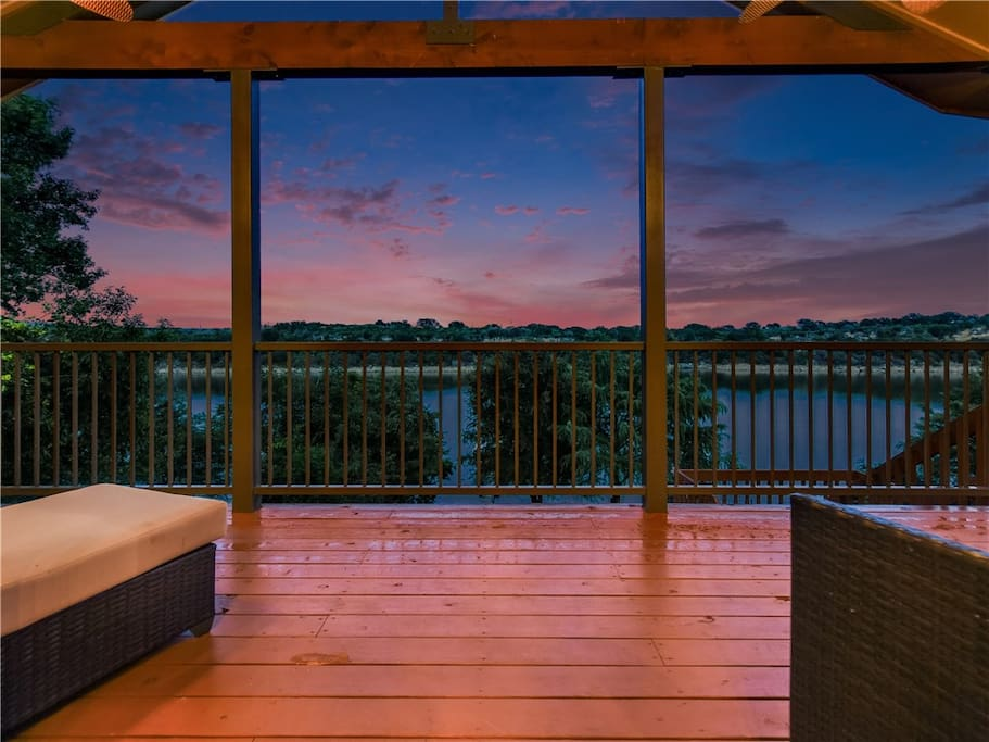 Beautiful sunset views from the main balcony. The balconies face north-east. Enjoy morning sun and cool breezes, then shaded afternoons.