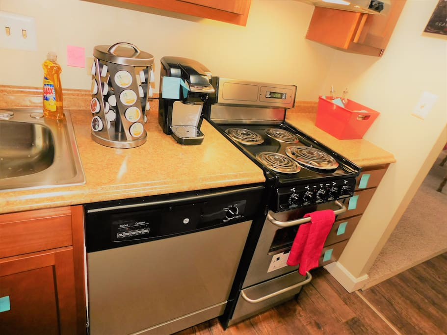Hardwood Cabinets, Stainless Steel Appliances and Keurig Maker