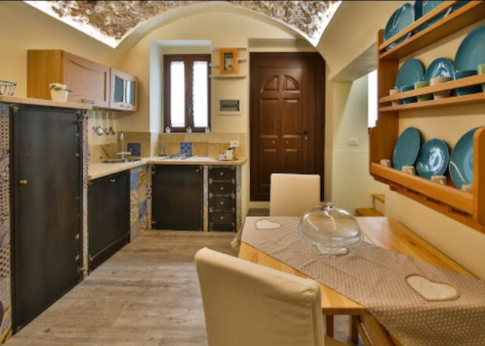 From this point of view, you can see the kitchen