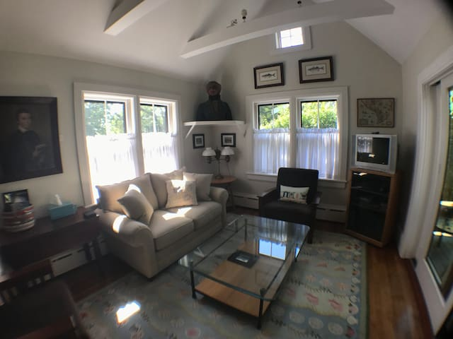 Living room off the kitchen and dining room