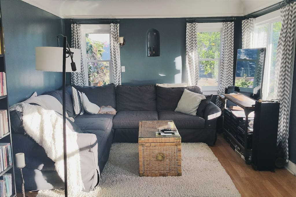 """Living Room with 55"""" Television with Netflix."""
