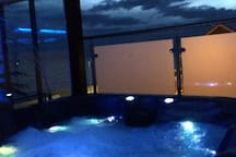 Hot tub on terrace where you can take in the breath taking views.