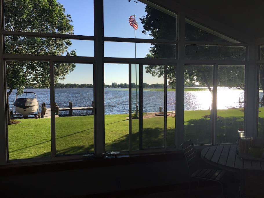 Sunroom overlooking the lake