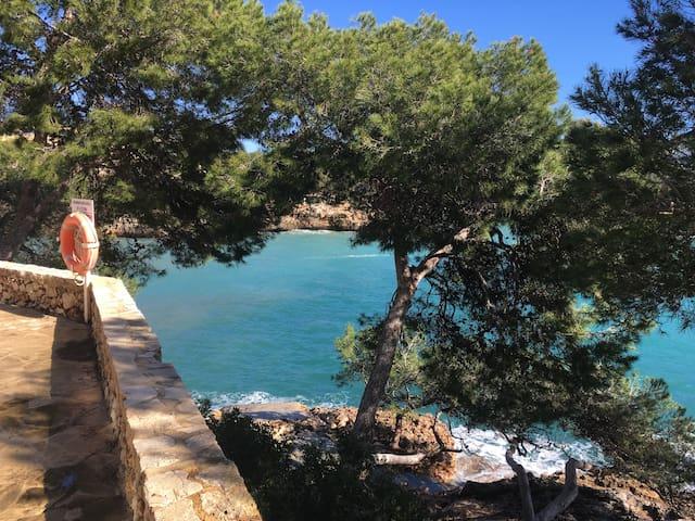 Blick vom Swimmingpool auf die Bucht