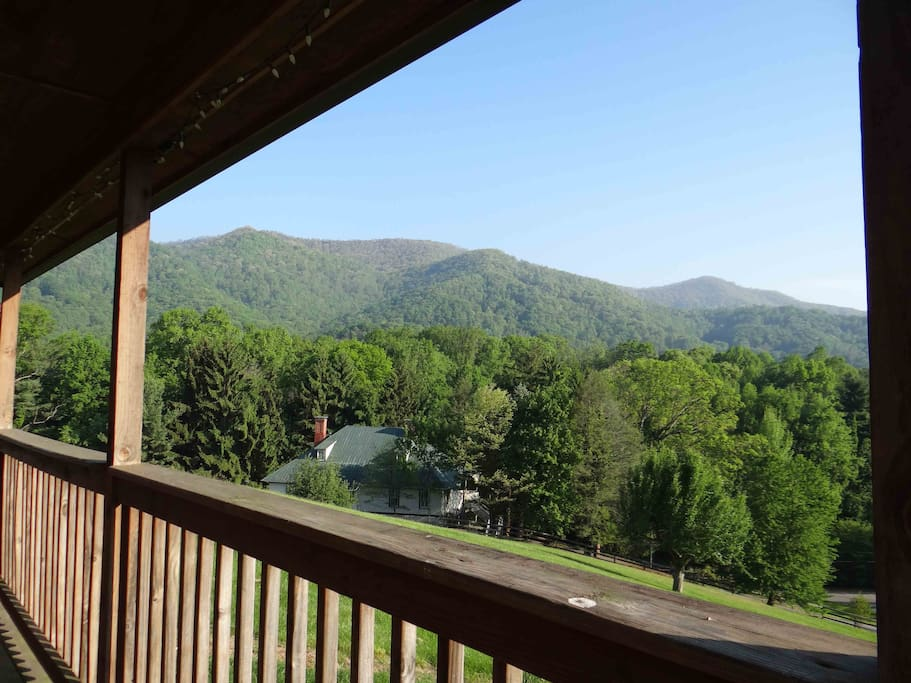 This is the view from the covered front porch of the Mount Mitchell Cabin.