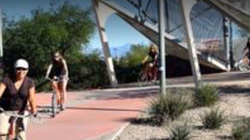 120 miles of bike paths. Bike rentals close by