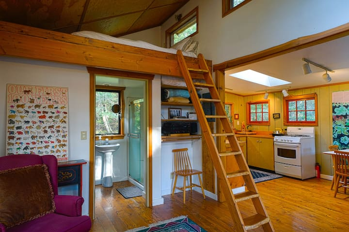 Shot of the comfy loft and ladder