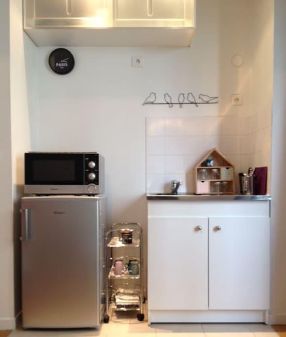 Coin cuisine avec réfrigérateur, four micro ondes gril, plaque vitrocéramique, cafetière, bouilloire...