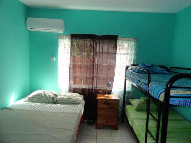 Bedroom 1, powerful AC Bunk bed Double bed Dresser and night table