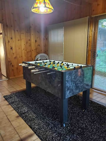 This foosball table is the most recent addition to the cabin, and should help create some family fun!