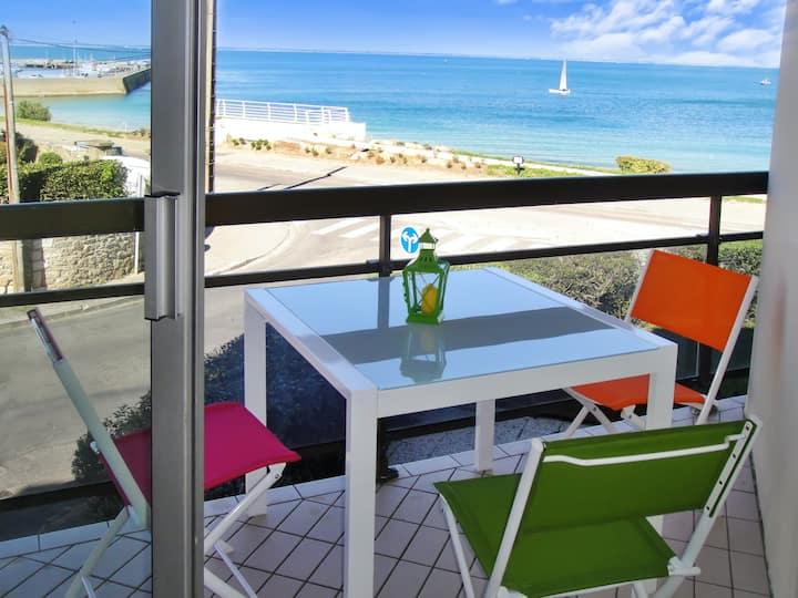 Appartement d'une chambre à Quiberon, avec magnifique vue sur la mer et balcon aménagé - à 50 m de la plage