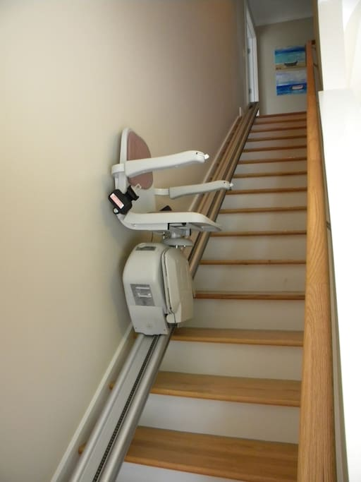 Stairway to apartment. Chair lift for any ADA needs.
