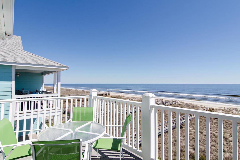 Oceanfront deck area off living room.