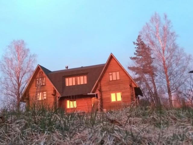Country house in the wild forest