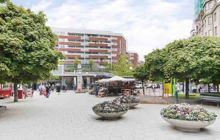 Fältöversten (5minutes walk) have plenty of shopping and grocery stores as well as pharmacy.