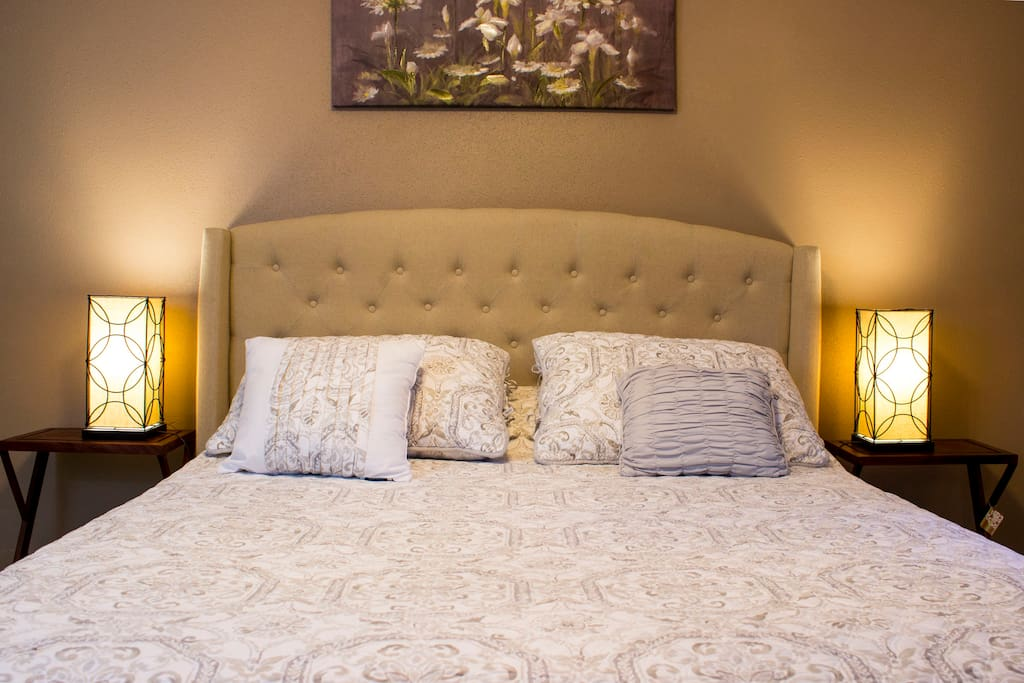 Your queen bed has a memory foam mattress topper for added comfort.