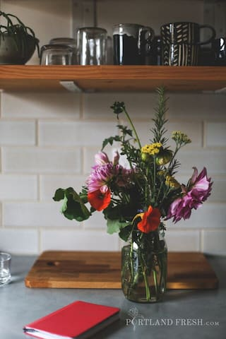 Fresh flowers from our backyard garden. Photo by Christiann Koepke with Portland Fresh.