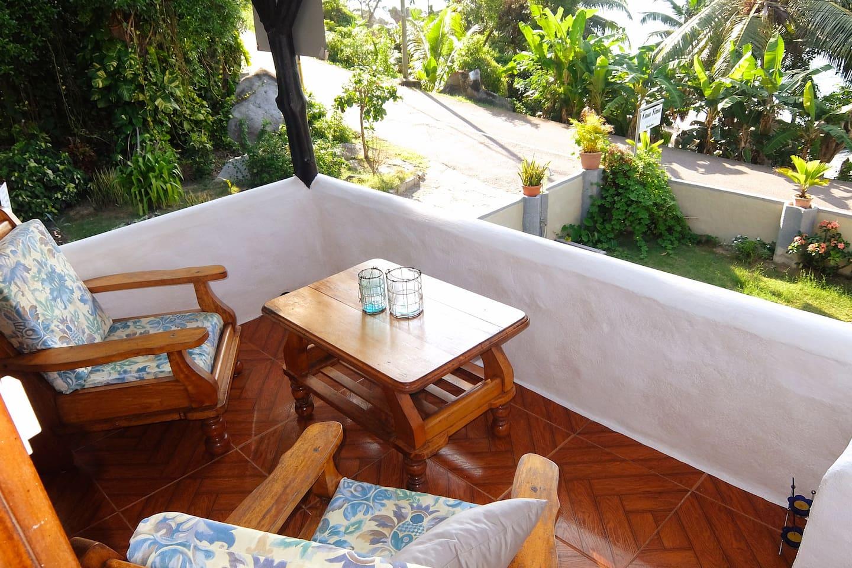 Balcony overlooking the sea across