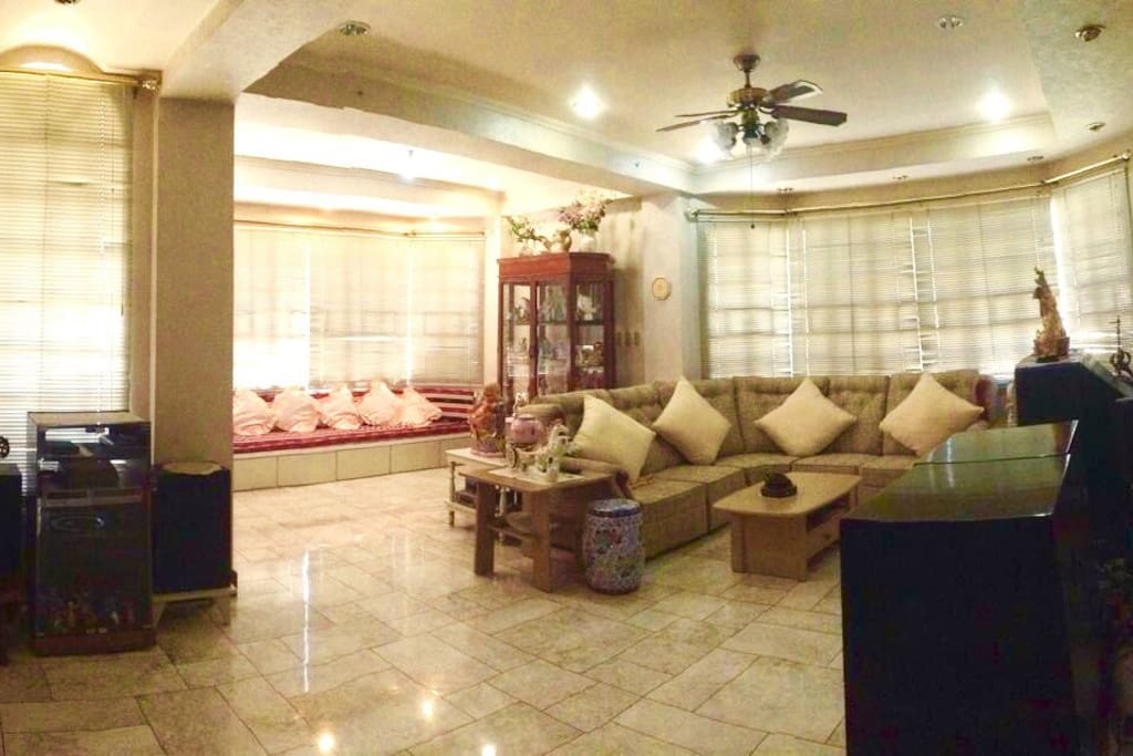 Living room with 2 sets of 8 seater sofa
