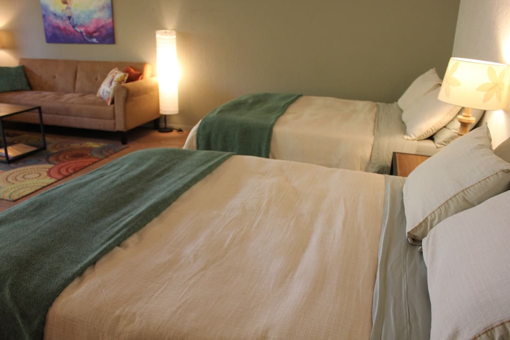 2 Comfortable Double beds (hotel suite style)