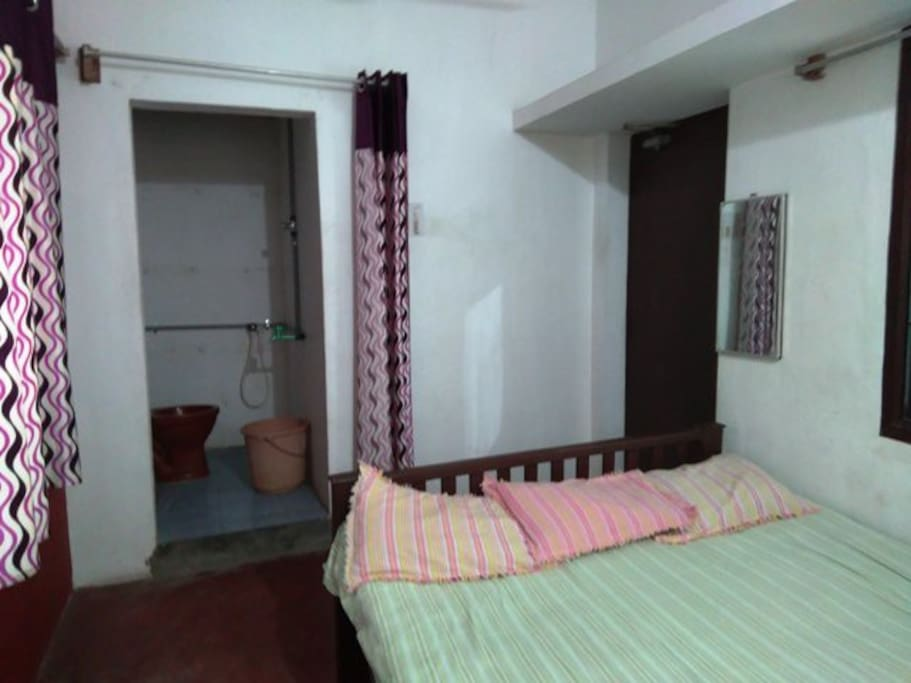room for 2 person can sleep in this ac room  with attached bathroom