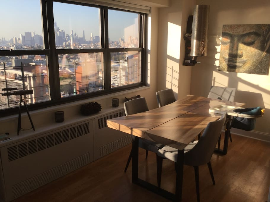 Dining room overlooking NYC