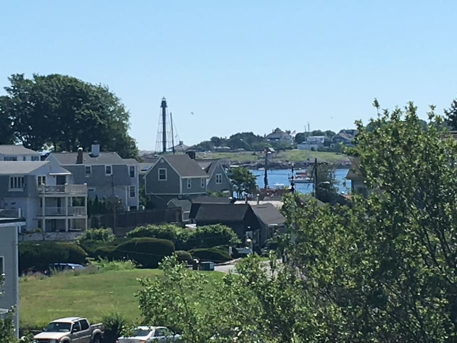Lovely view of the harbor and lighthouse from our deck.