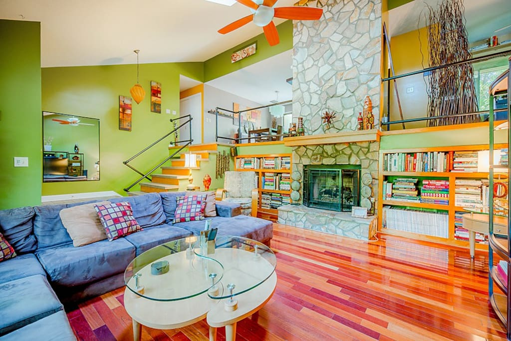 The Living Room with vaulted ceiling and an extensive cookbook collection (I am a chef).  Cozy up to the gas fireplace and enjoy a read...