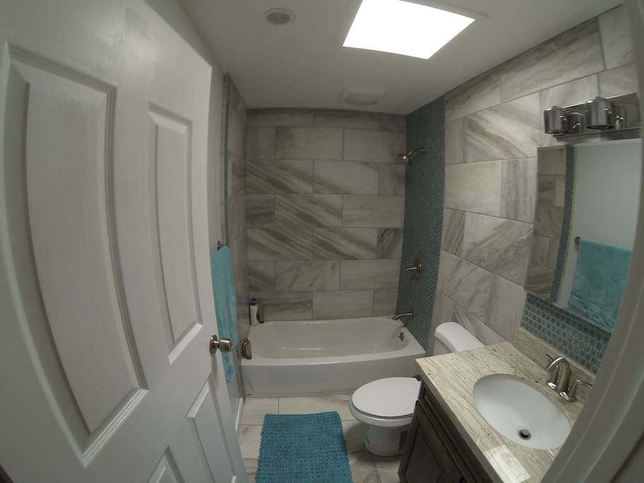 Freshly renovated modern style bathroom