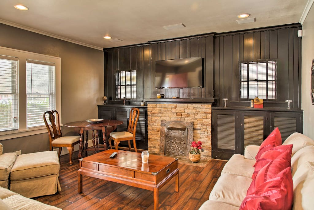 Cozy up by the stone fireplace or watch the cable TV during your downtime.