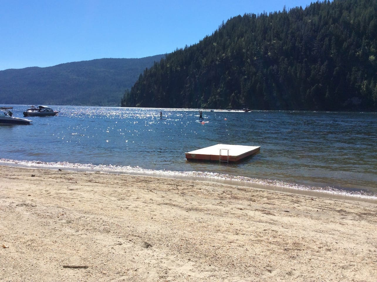 Mara Lake.  This is our beach--fifty steps away from your cabin's front door!