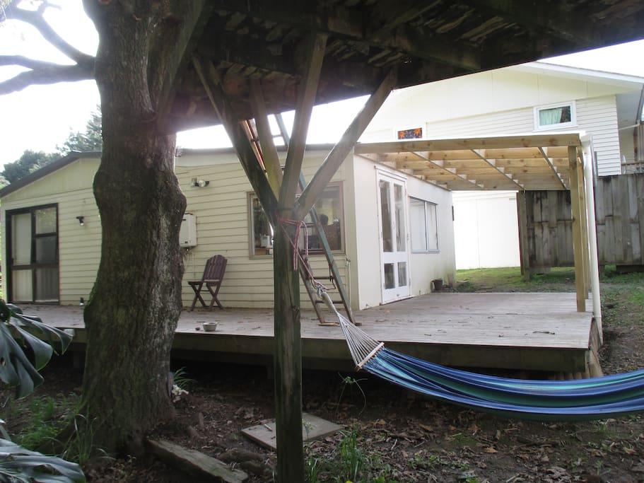 Treehouse and hammock