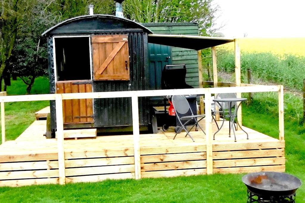 Shepherd's Hut with decking surrounds